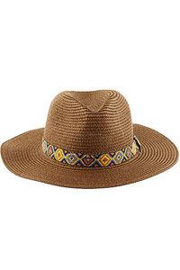 Ibiza Hoed bruin met aztec rand