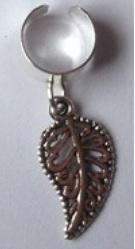 Haar ring breed klein blad Zilver (1 stuk)