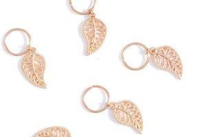 Haar ring Blad Goud (5 stuks)
