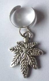 Haar ring breed groot blad Zilver (1 stuk)