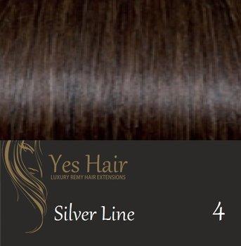 Yes Hair Extensions Silver Line 55/60 cm NS kleur 4 Midden Donker Bruin