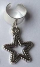 Haar ring breed ster Zilver (1 stuk)