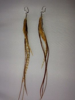 Feather earring Brown