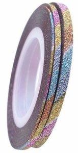 Striping tape glitter regenboog 1mm